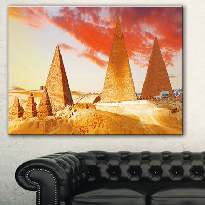 Designart Great Pyramids At Giza Landscape Art Print Canvas - 3 Panels