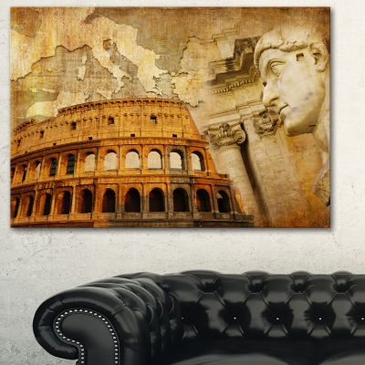 Design Art Great Roman Empire Digital Art CollageCanvas Art - 3 Panels