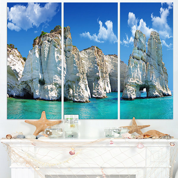 Designart Greek Holidays Cityscape Photo Canvas Art Print - 3 Panels