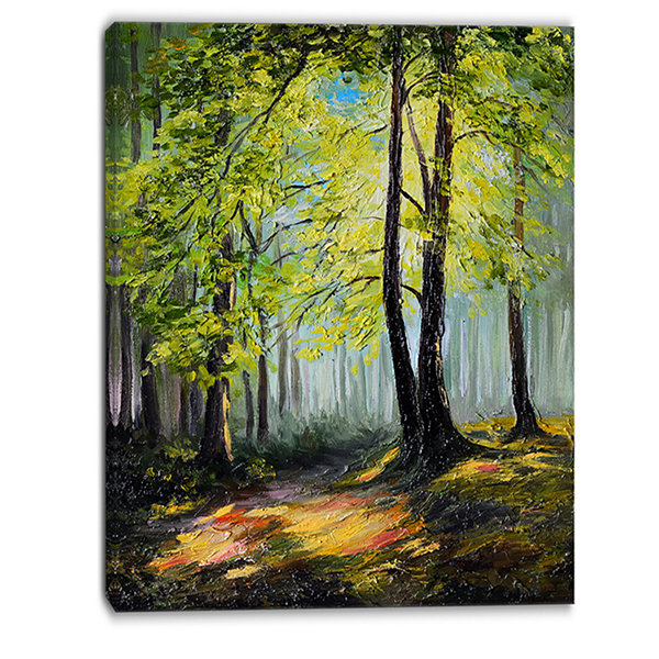 Designart Green Autumn Forest Landscape Art PrintCanvas