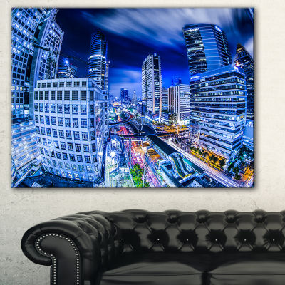 Designart Bangkok City Night View Cityscape BluePhotography Canvas Art Print - 3 Panels