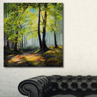 Designart Green Autumn Forest Landscape Art PrintCanvas - 3 Panels