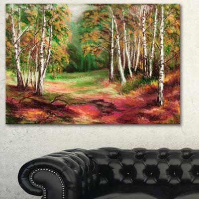 Designart Autumn Forest Landscape Art Print Canvas- 3 Panels