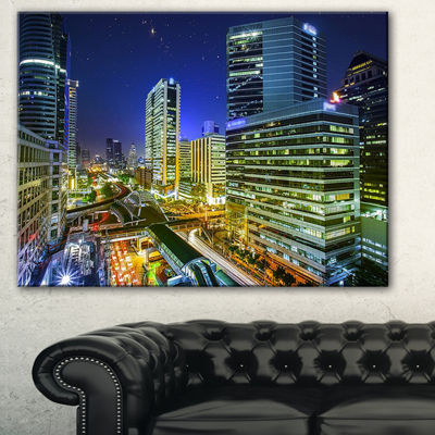 Designart Bangkok City Night View Cityscape Photography Canvas Art Print - 3 Panels