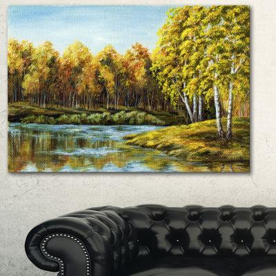 Designart Green Autumn Lake Landscape Art Print Canvas - 3 Panels