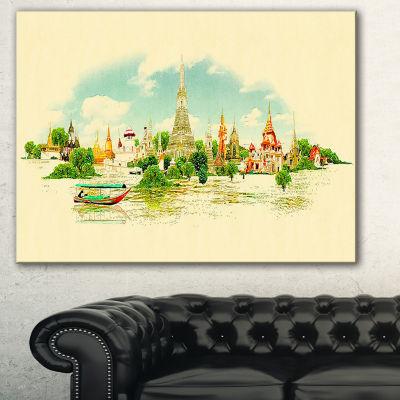 Designart Bangkok Panoramic View Cityscape Watercolor Canvas Print - 3 Panels