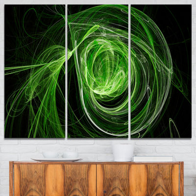 Designart Green Ball Of Yarn Abstract Canvas ArtPrint - 3 Panels