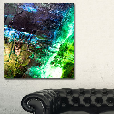Designart Green Blue Abstract Structure AbstractCanvas Print - 3 Panels