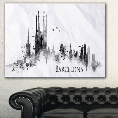 Designart Barcelona Black Silhouette Cityscape Painting Canvas Print