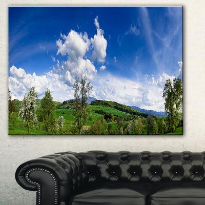 Designart Green Blue Spring Landscape PhotographyCanvas Art Print - 3 Panels