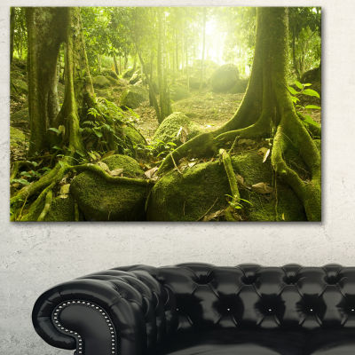 Designart Green Forest With Sun Landscape Photography Canvas Print
