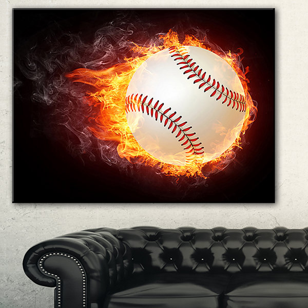 Designart Baseball Ball Sport Canvas Art Print -3Panels