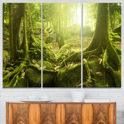 Designart Green Forest With Sun Landscape Photography Canvas Print - 3 Panels