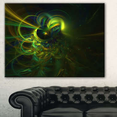 Designart Green Fractal Light Forms Abstract Art Print