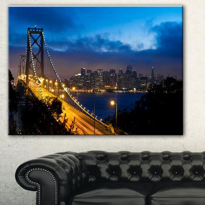Designart Bay Bridge San Francisco Cityscape Photo Canvas Print - 3 Panels