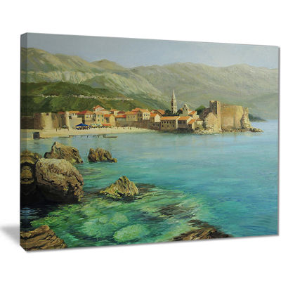 Designart Bay Near Old Budva Landscape Painting Canvas Print