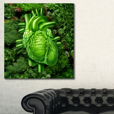 Designart Green Healthy Heart Contemporary Artwork- 3 Panels