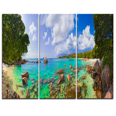 Designart Beach Anse Lazio At Seychelles LandscapePhotography Canvas Print - 3 Panels