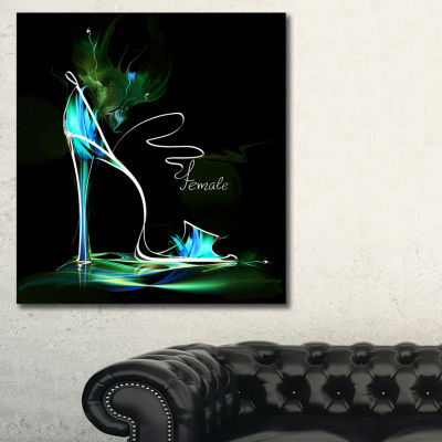 Designart Green High Heel Show Abstract Canvas ArtPrint - 3 Panels