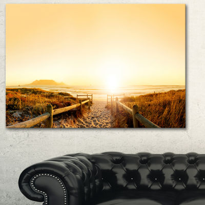 Designart Beach Near Cape Town Panorama Photography Canvas Art Print - 3 Panels