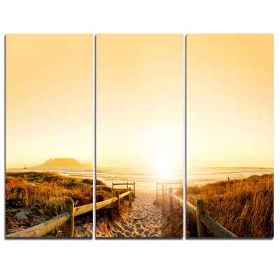 Design Art Beach Near Cape Town Panorama Photography Canvas Art Print - 3 Panels
