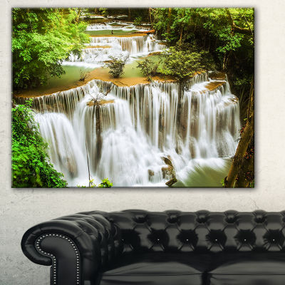 Designart Green Huymea Kamin Waterfall PhotographyCanvas Art Print - 3 Panels
