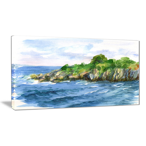 Designart Green Island In Sea Watercolor SeascapeCanvas Print