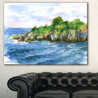 Designart Green Island In Sea Watercolor SeascapeCanvas Print - 3 Panels