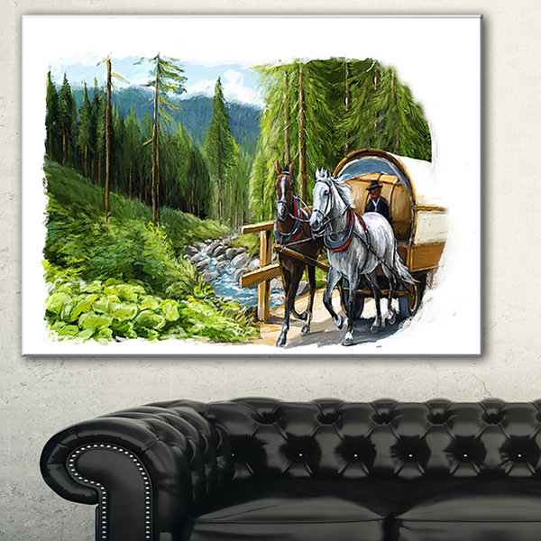 Designart Green Landscape With Horse Abstract Print On Canvas