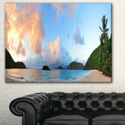 Designart Beach Sunset With Clouds Landscape Photography Canvas Print - 3 Panels