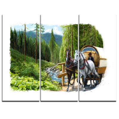 Designart Green Landscape With Horse Abstract Print On Canvas - 3 Panels