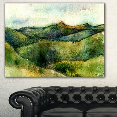 Designart Green Mountains Watercolor Landscape Painting Canvas Print - 3 Panels