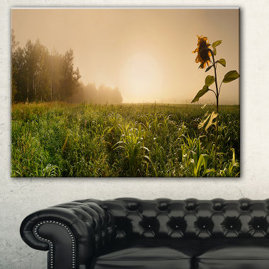 Designart Green Panoramic Landscape Photography Canvas Art Print
