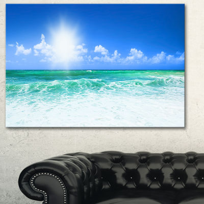 Designart Beautiful Blue Beach Seascape Photography Canvas Art Print