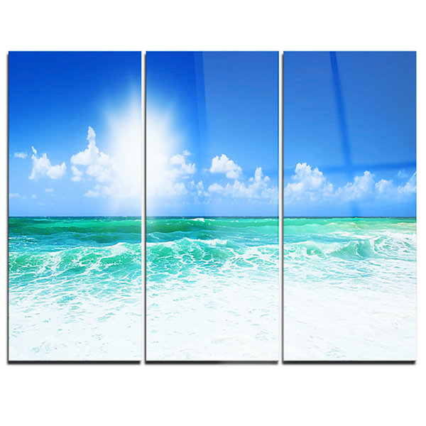 Designart Beautiful Blue Beach Seascape Photography Canvas Art Print - 3 Panels