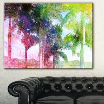 Designart Green Retro Palm Trees Landscape Painting Canvas Print