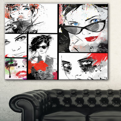 Designart Beautiful Faces Collage Abstract Portrait Canvas Print