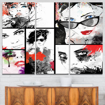Designart Beautiful Faces Collage Abstract Portrait Canvas Print - 3 Panels