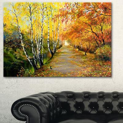 Designart Beautiful Fall Forest Landscape Art Print Canvas - 3 Panels