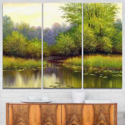 Designart Green Summer With River Landscape Art Print Canvas - 3 Panels