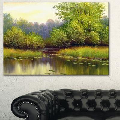 Designart Green Summer With River Landscape Art Print Canvas - 3 Panels