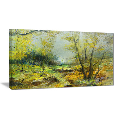 Designart Green Yellow Deep Forest Landscape Art Print Canvas
