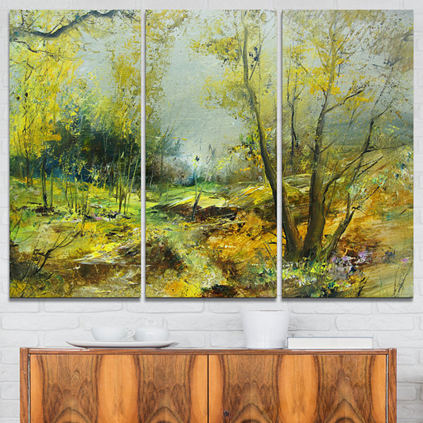 Designart Green Yellow Deep Forest Landscape ArtPrint Canvas - 3 Panels