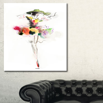 Designart Beautiful Fashion Girl Portrait CanvasArtwork Print
