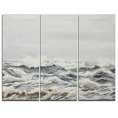 Designart Grey Sea Waves Seascape Canvas Art Print- 3 Panels