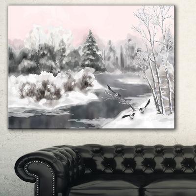 Designart Grey Winter Vector Landscape WatercolorCanvas Art Print - 3 Panels