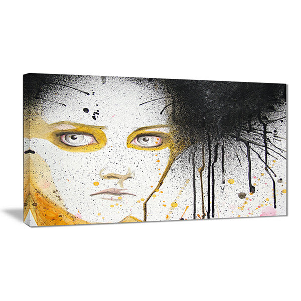 Designart Beautiful Girl With Yellow Eyes AbstractPortrait Canvas Print