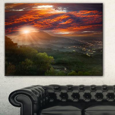 Designart Guanyin Mountain Sunrise Taipei Photography Canvas Art Print - 3 Panels