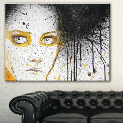 Designart Beautiful Girl With Yellow Eyes AbstractPortrait Canvas Print - 3 Panels