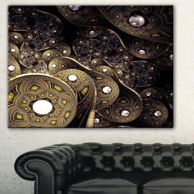 Designart Beautiful Gold Metallic Fabric AbstractPrint On Canvas - 3 Panels